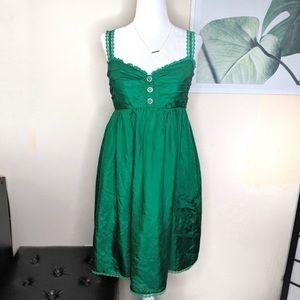 Vintage silk betsey Johnson green dress size 8